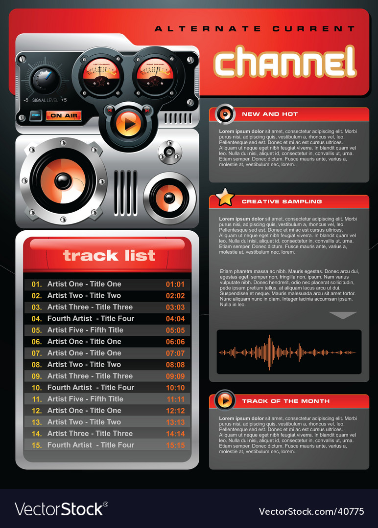 Red analog mp3 player brochure vector | Price: 5 Credit (USD $5)
