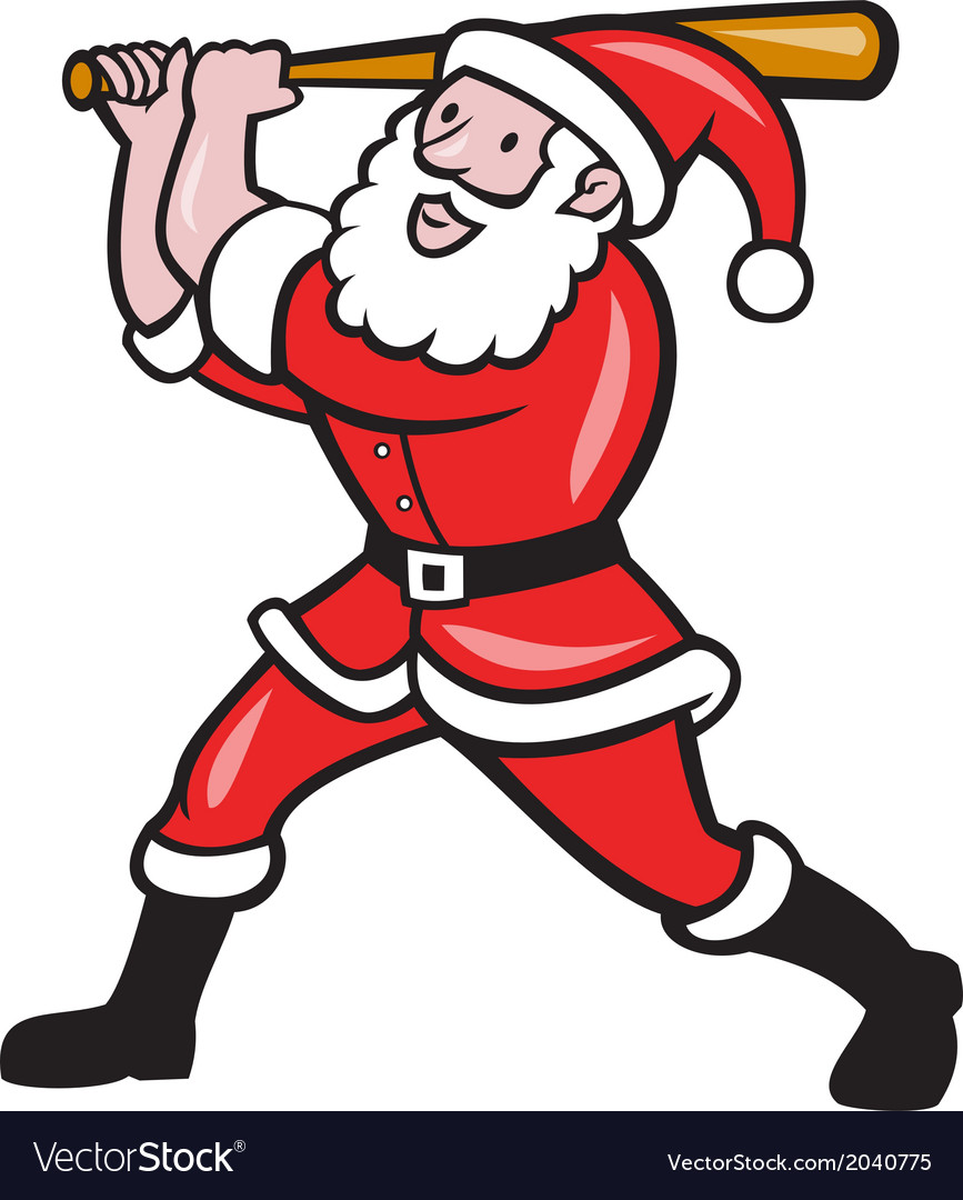 Santa baseball player batting isolated cartoon vector | Price: 1 Credit (USD $1)