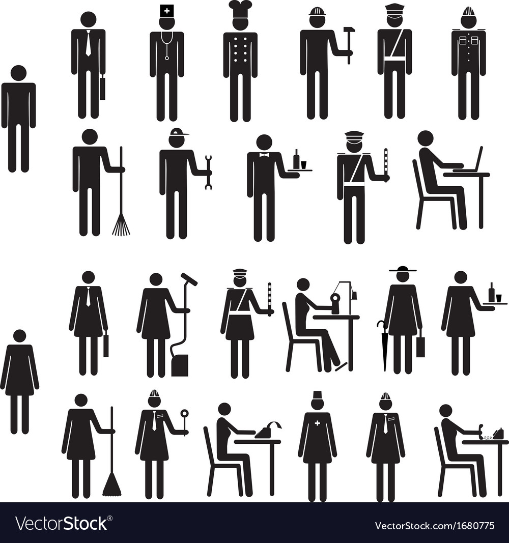 Set of icons figure people job occupation vector | Price: 1 Credit (USD $1)