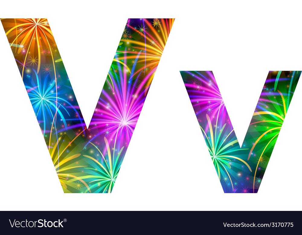 Set of letters firework v vector | Price: 1 Credit (USD $1)