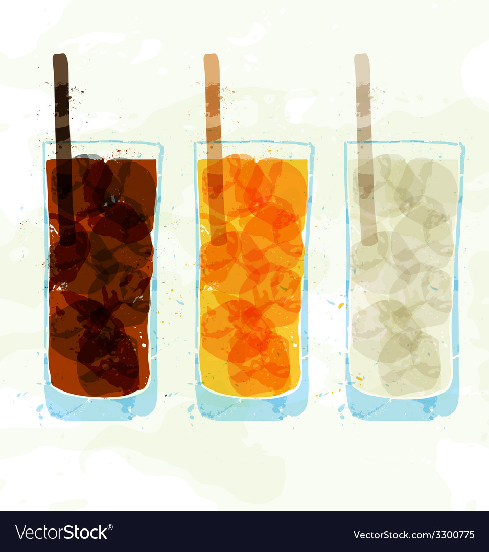 Set of multi-colored glass cup stains vector | Price: 1 Credit (USD $1)