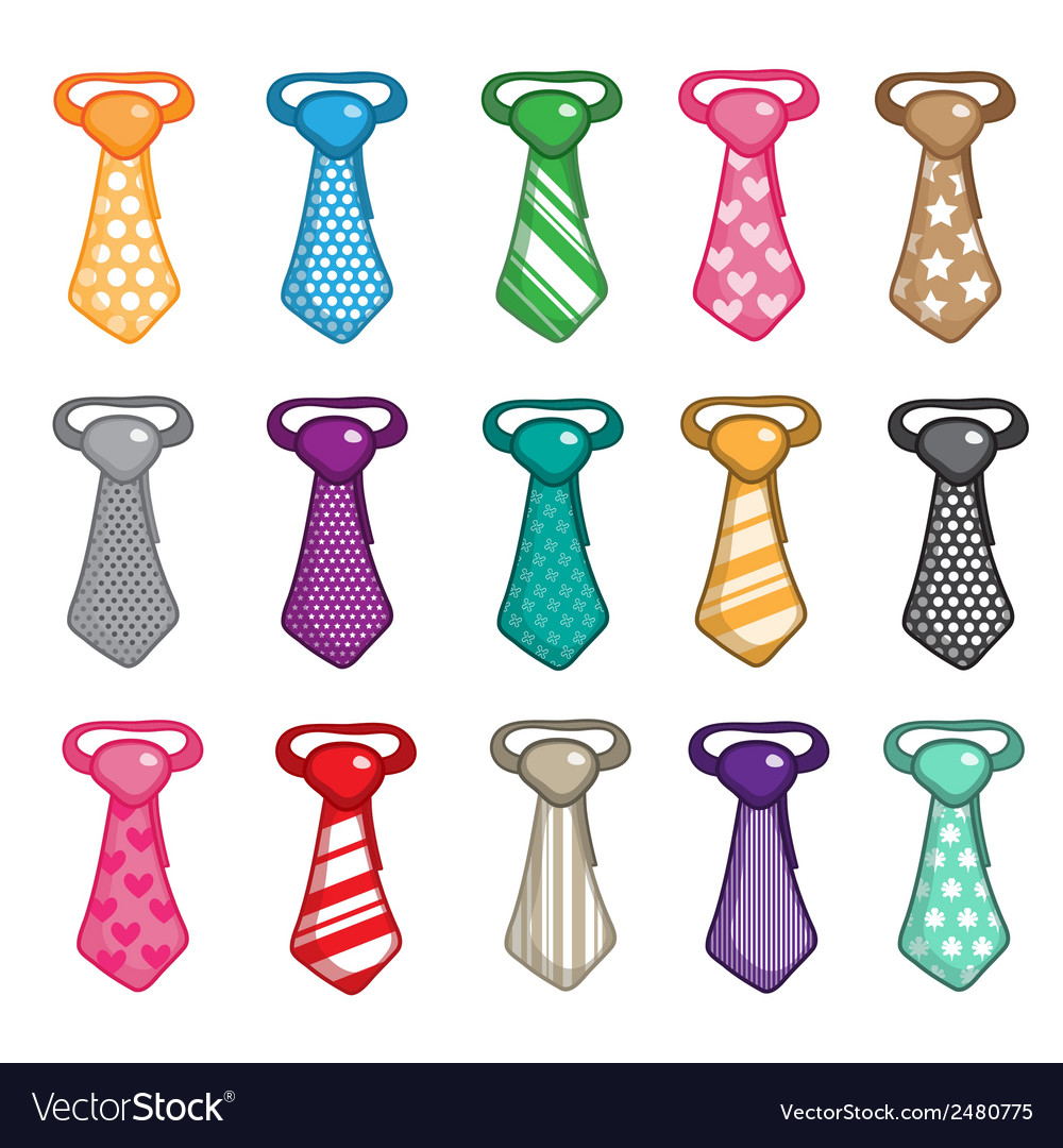 Set of necktie isolated on white background vector   Price: 1 Credit (USD $1)