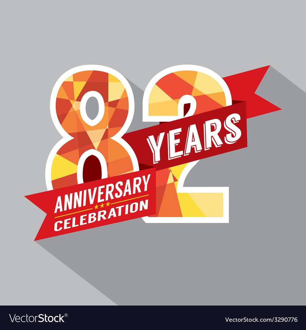 82nd years anniversary celebration design vector | Price: 1 Credit (USD $1)