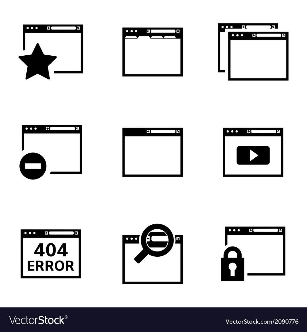 Black browser icons vector | Price: 1 Credit (USD $1)