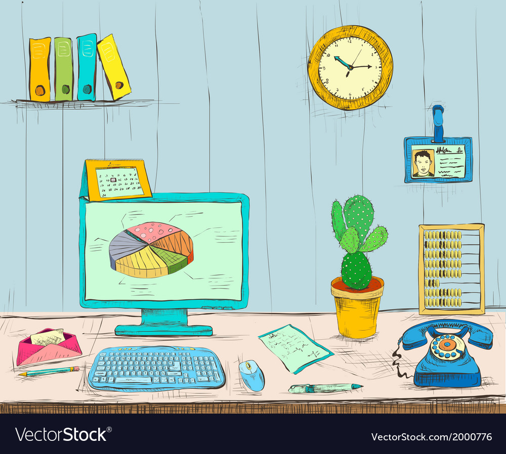 Business workplace office interior desk vector | Price: 1 Credit (USD $1)