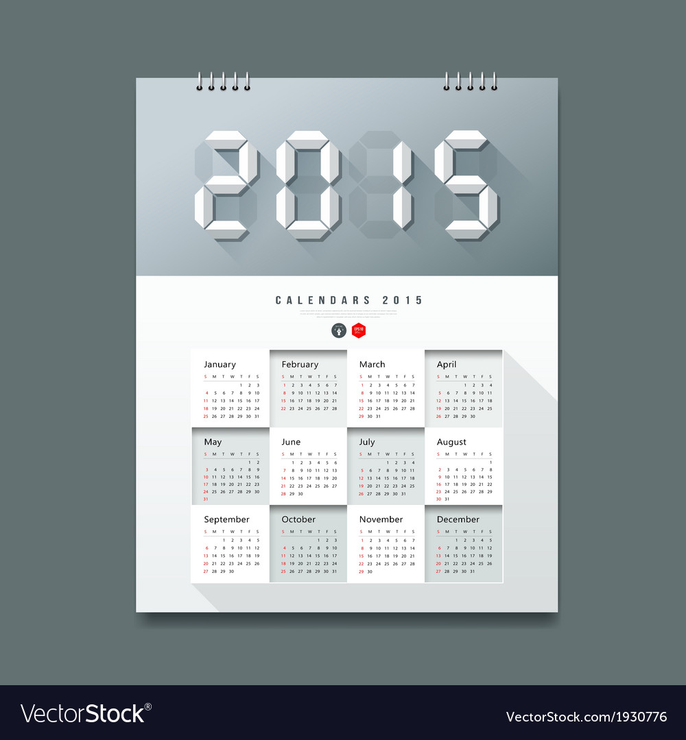 Calendar 2015 number paper digital design vector | Price: 1 Credit (USD $1)