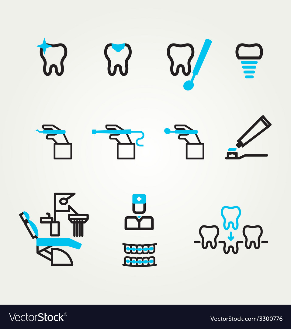 Dental icons reflection theme vector | Price: 1 Credit (USD $1)