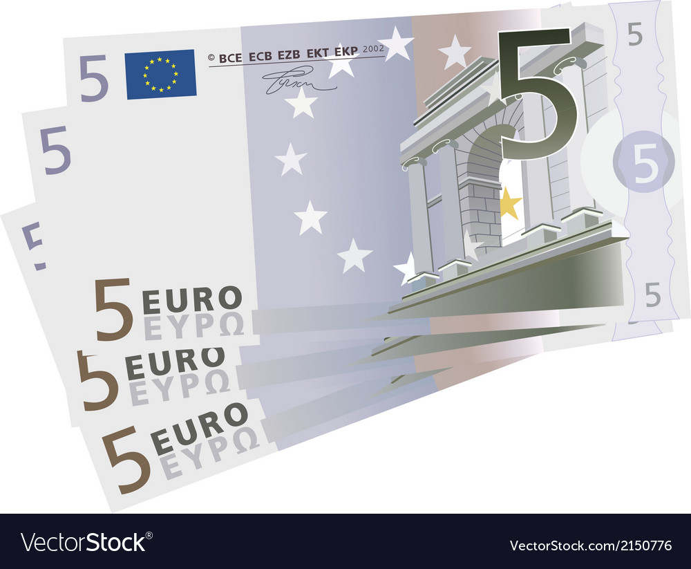 Drawing of a 3x 5 euro bills vector | Price: 1 Credit (USD $1)