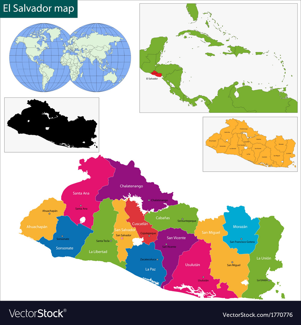 El salvador map vector | Price: 1 Credit (USD $1)