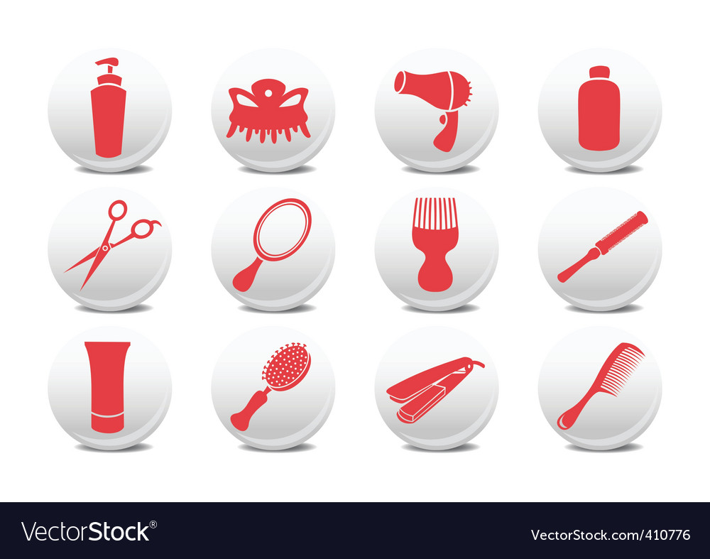 Hairdressing salon buttons vector | Price: 1 Credit (USD $1)