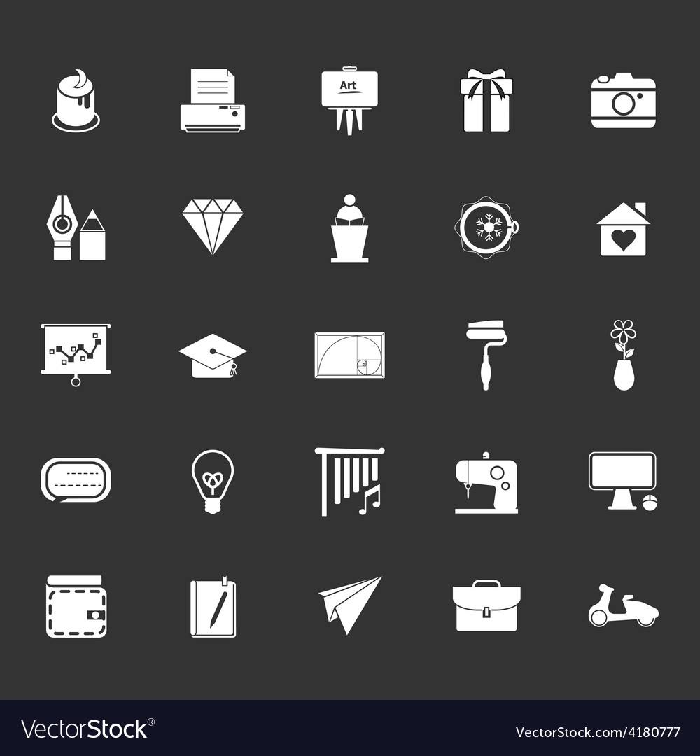 Art and creation icons on gray background vector | Price: 1 Credit (USD $1)