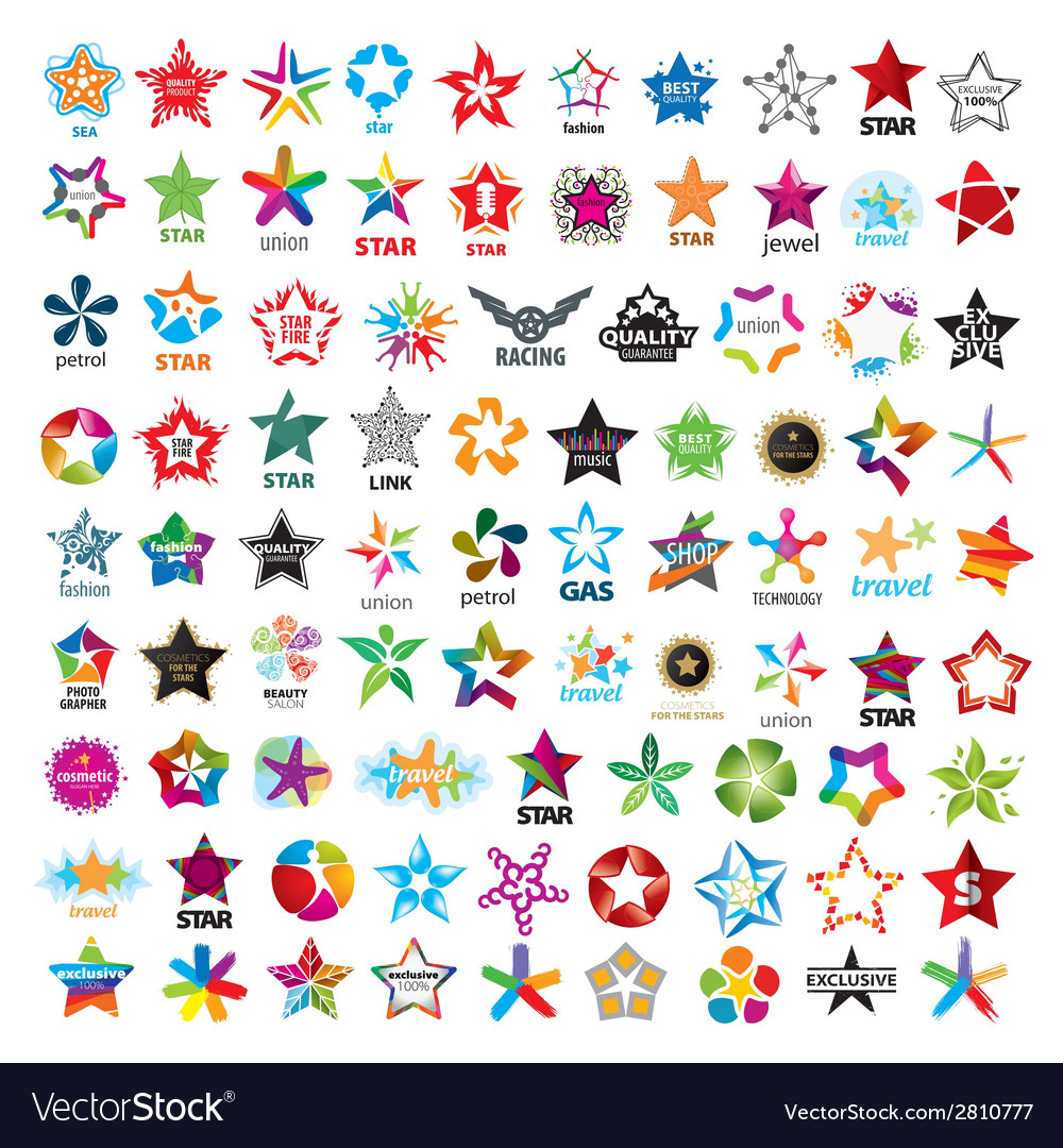 Biggest collection of logos five pointed stars vector | Price: 1 Credit (USD $1)