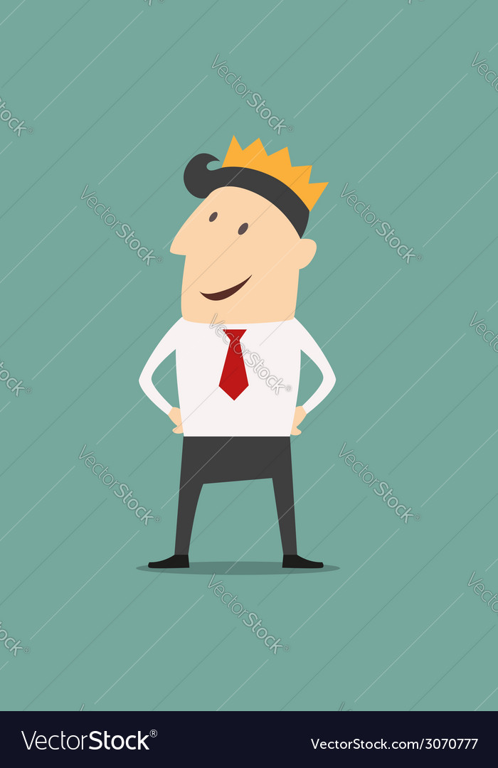 Cartoon businessman wearing a crown vector | Price: 1 Credit (USD $1)