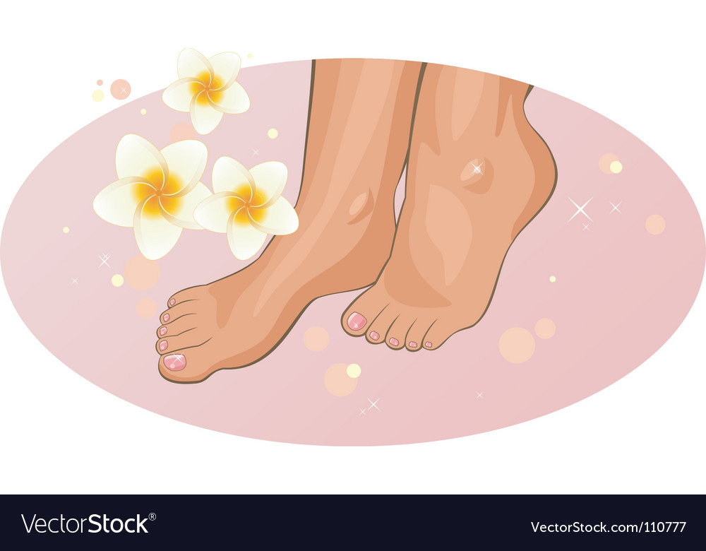 Feet with frangipani flowers vector | Price: 3 Credit (USD $3)