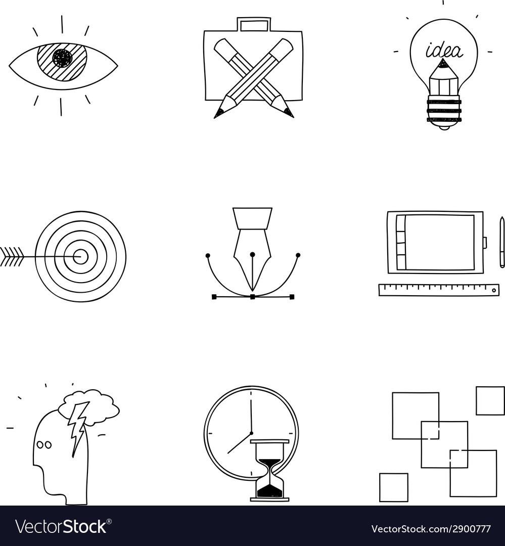 Hand drawn doodle sketch creative design process vector | Price: 1 Credit (USD $1)