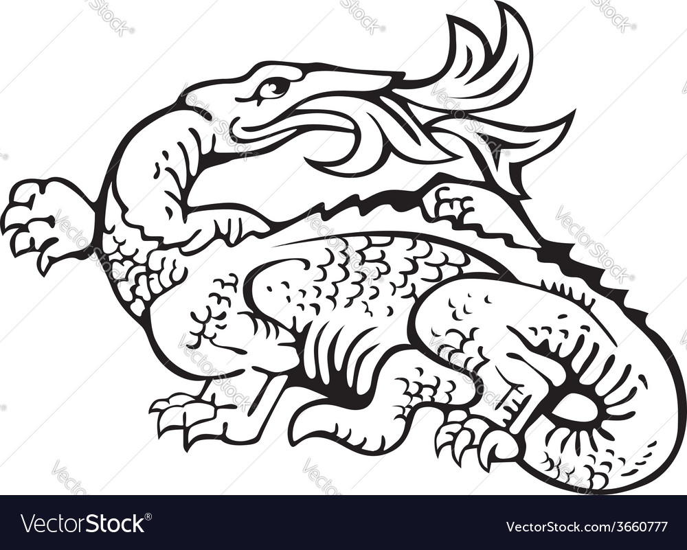 Heraldic dragon no11 vector | Price: 1 Credit (USD $1)