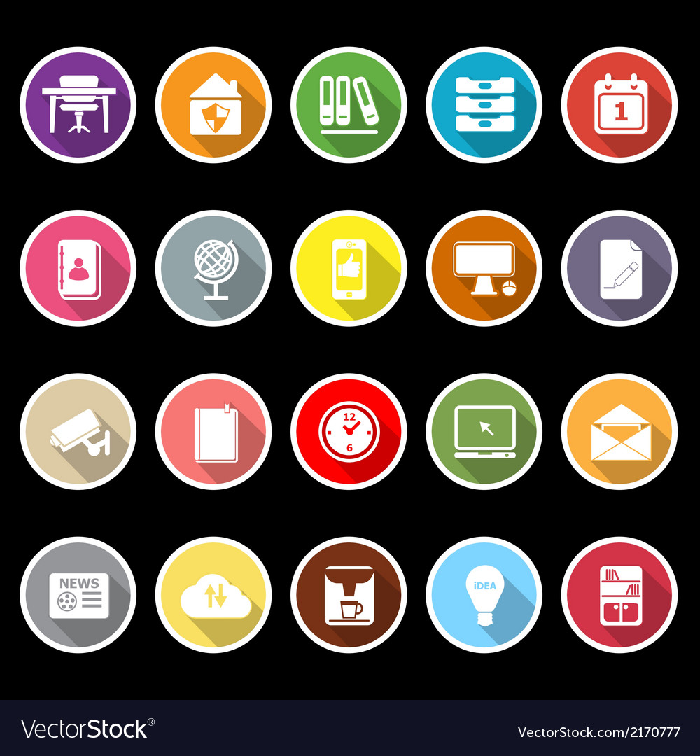 Home office icons with long shadow vector | Price: 1 Credit (USD $1)