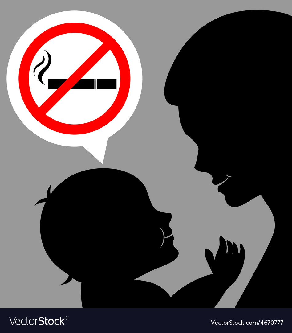 Mom and baby with a prohibiting smoking sign vector | Price: 1 Credit (USD $1)