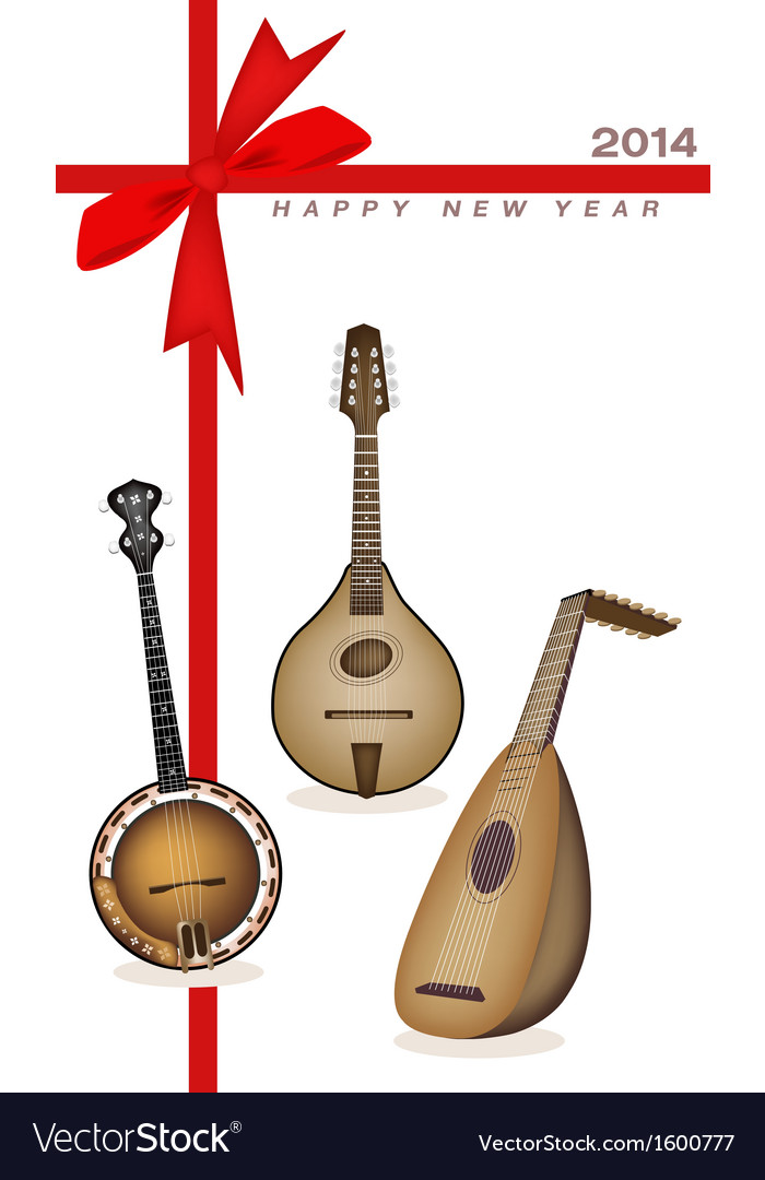 New year gift card of musical instrument strings vector | Price: 1 Credit (USD $1)
