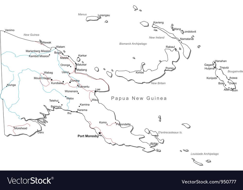 Papua new guinea black white map vector | Price: 1 Credit (USD $1)
