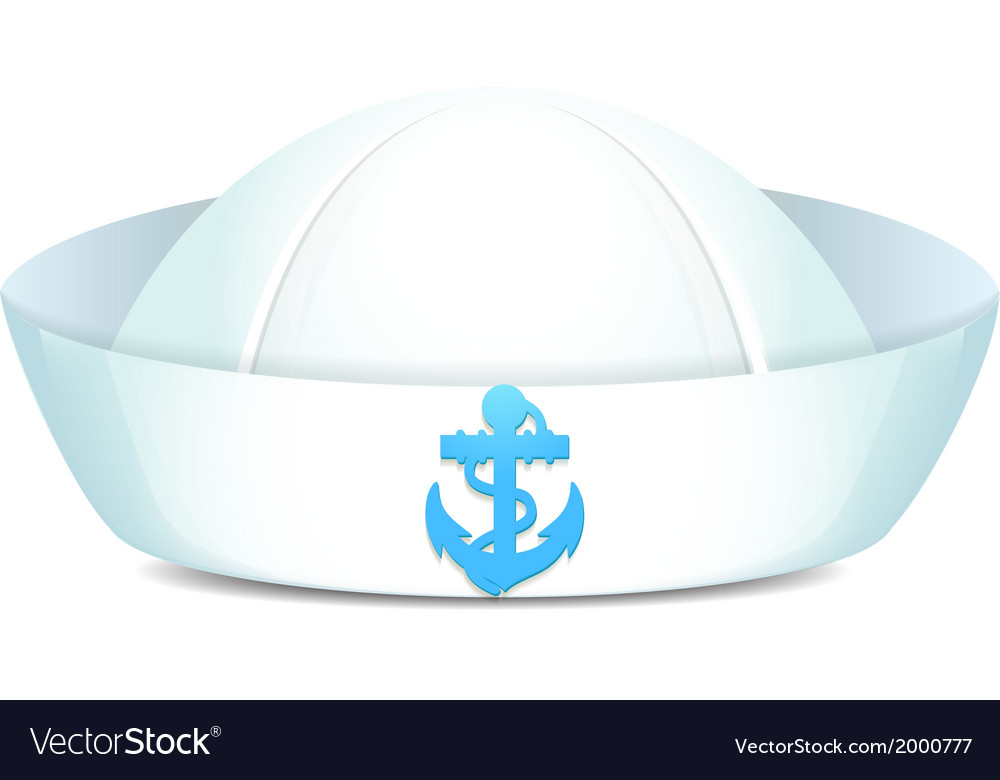 Peaked sailor hat with blue anchor vector | Price: 1 Credit (USD $1)