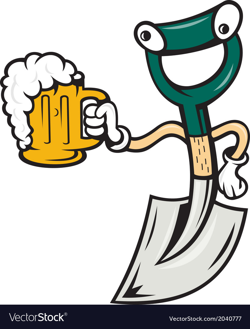 Shovel holding beer mug cartoon vector | Price: 1 Credit (USD $1)