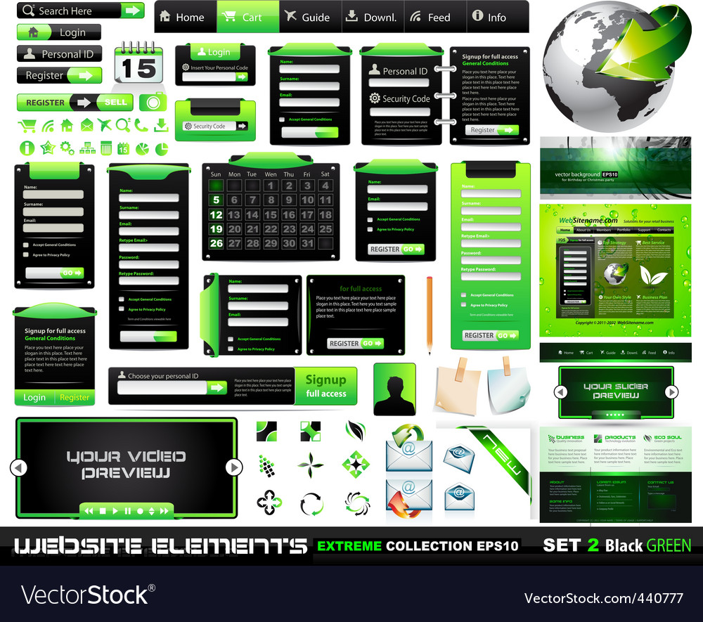 Web design elements  collection vector | Price: 3 Credit (USD $3)