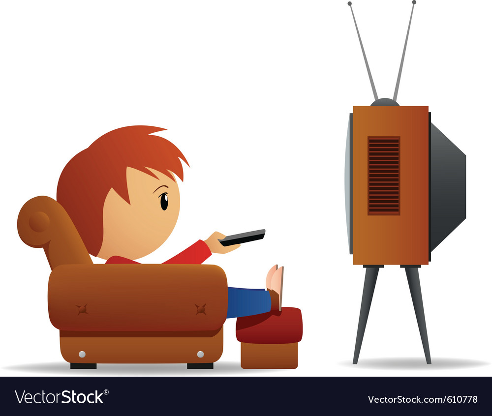 Cartoon man tv vector | Price: 1 Credit (USD $1)