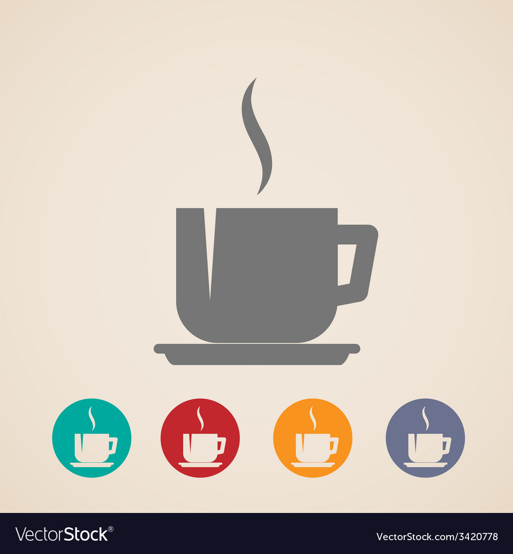 Coffee or tea cup icons vector | Price: 1 Credit (USD $1)