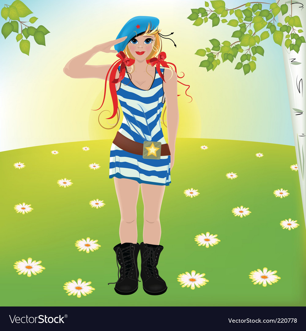 Girl soldiers salute vector | Price: 3 Credit (USD $3)
