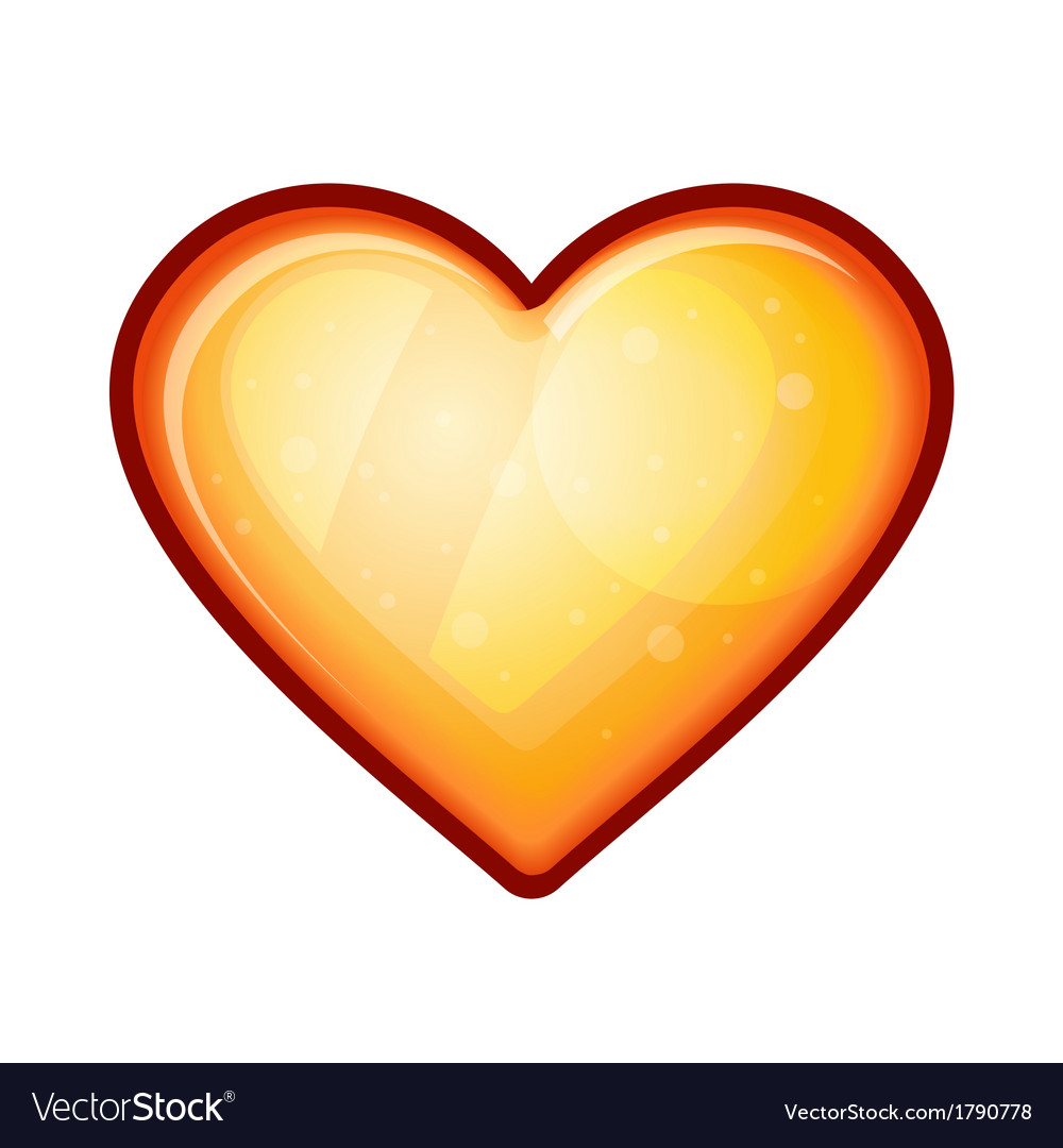 Golden shiny heart shape isolated on white vector | Price: 1 Credit (USD $1)