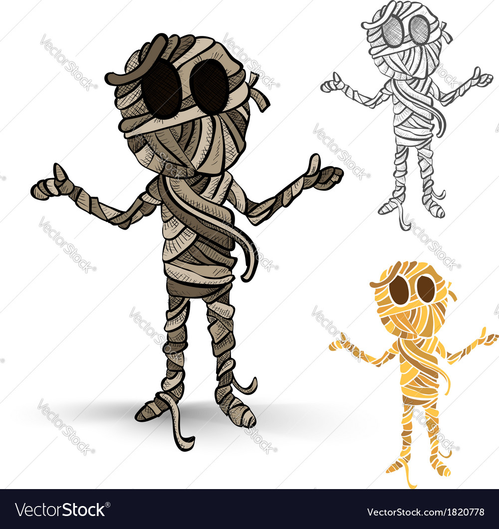 Halloween monsters isolated spooky mummies set vector | Price: 1 Credit (USD $1)