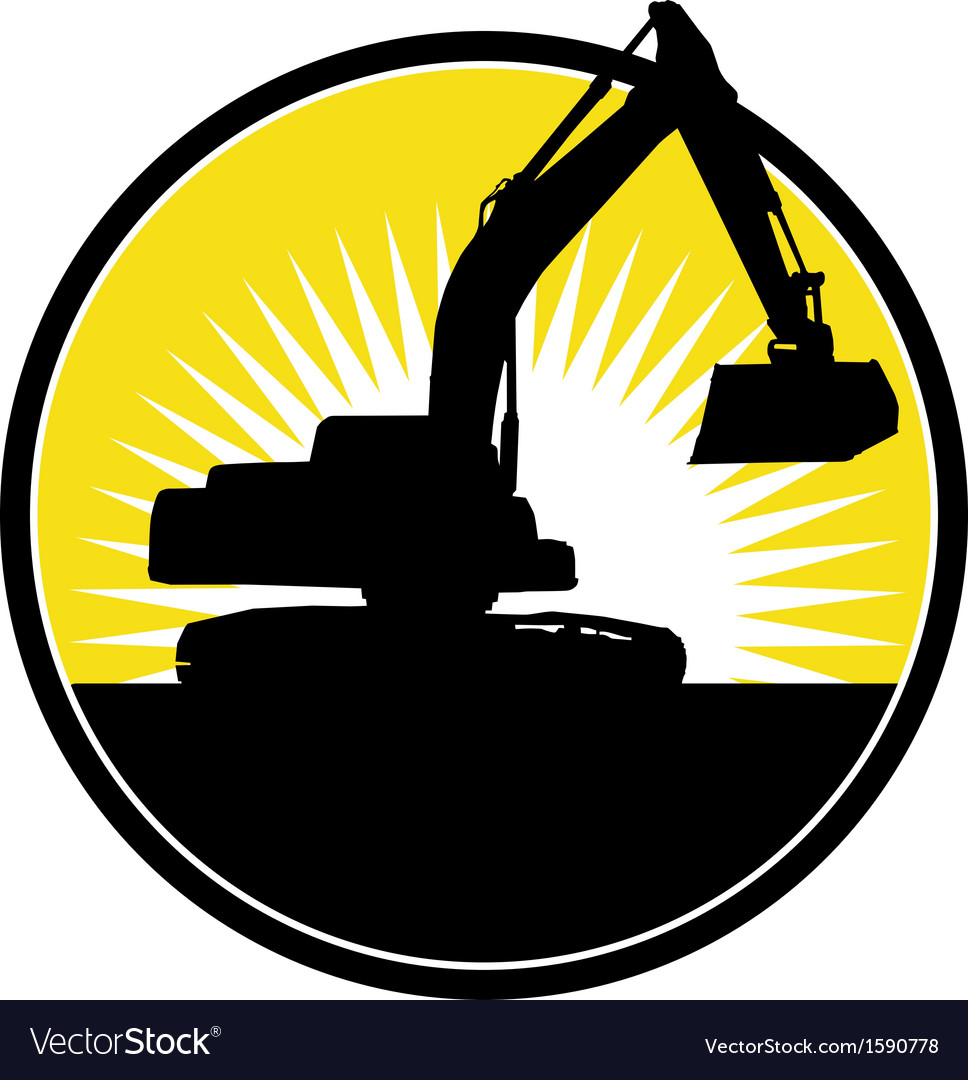 Mechanical digger with sunburst vector   Price: 1 Credit (USD $1)