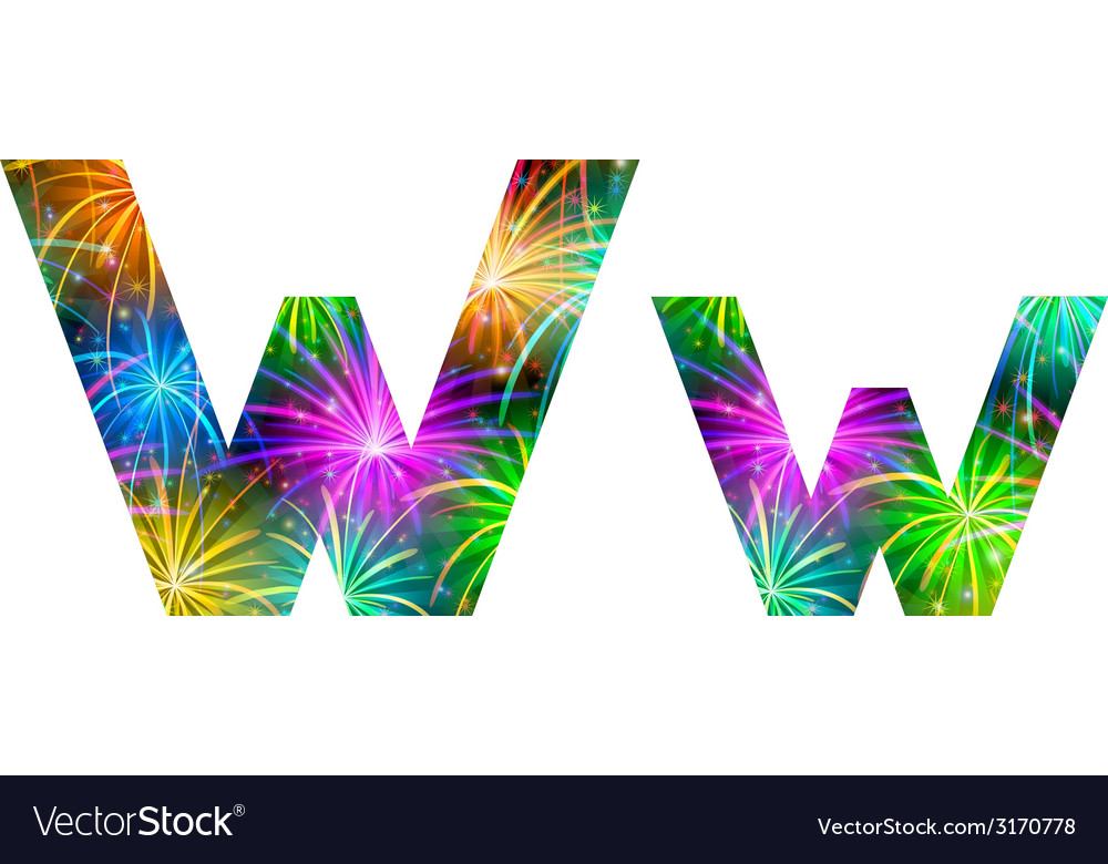 Set of letters firework w vector | Price: 1 Credit (USD $1)