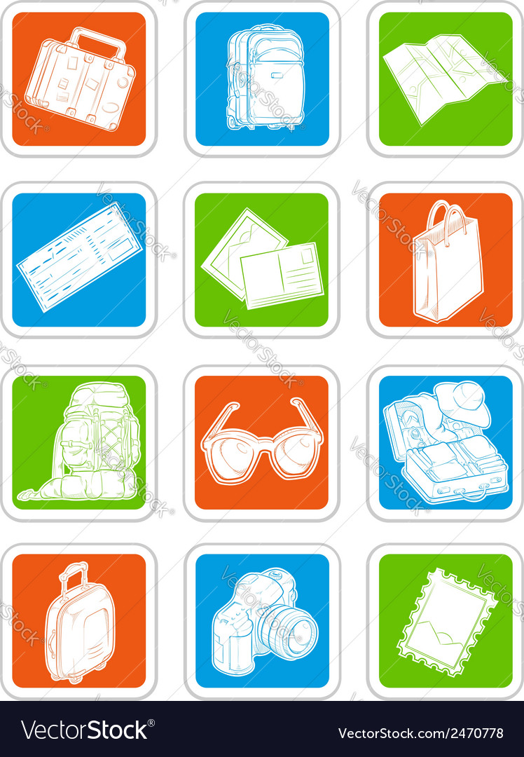 Travel icons suitcase map ticket vector | Price: 1 Credit (USD $1)
