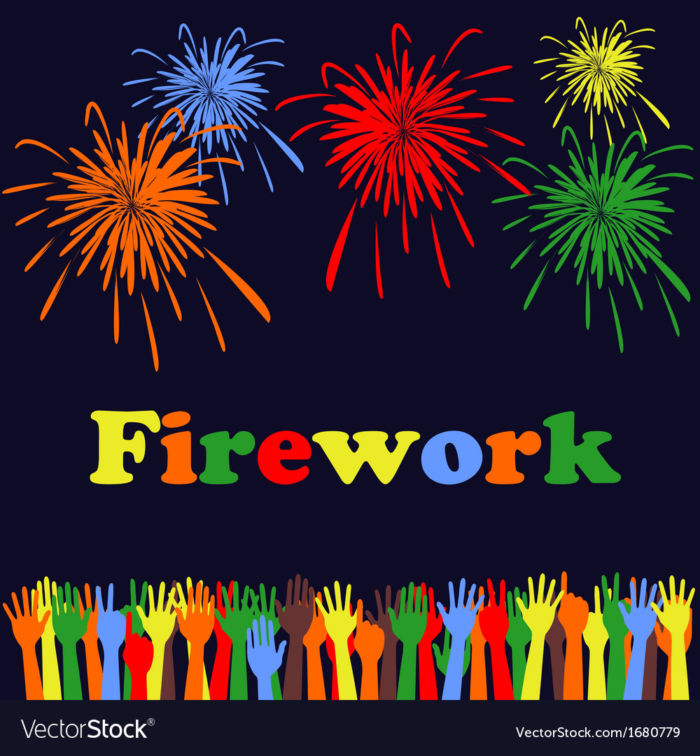 Abstract festive fireworks and hands background vector | Price: 1 Credit (USD $1)