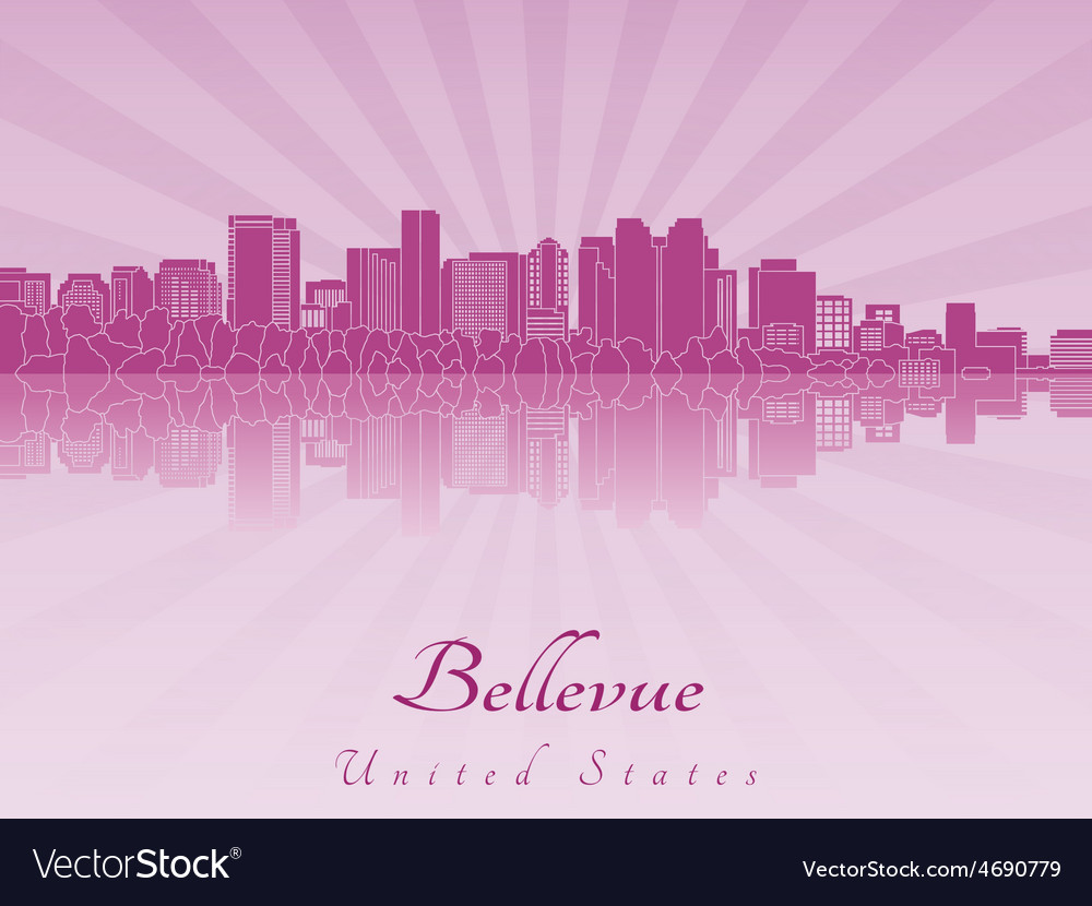 Bellevue skyline in purple radiant orchid vector | Price: 1 Credit (USD $1)