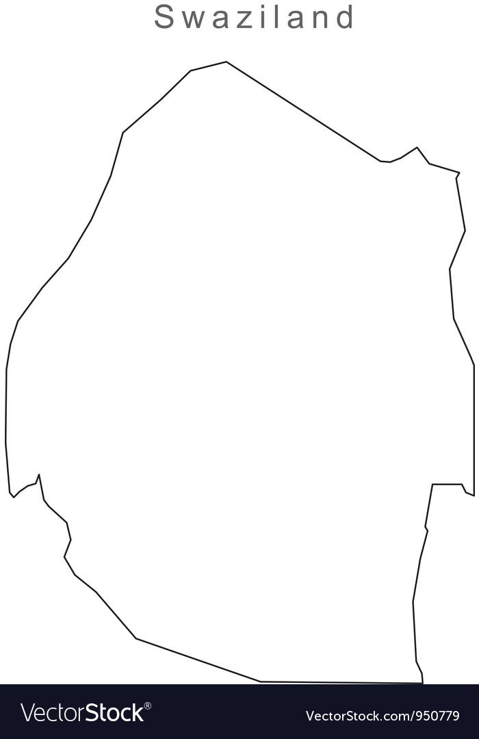 Black white swazliland outline map vector   Price: 1 Credit (USD $1)