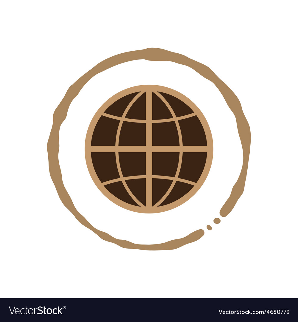 Coffee world with coffee cup stain vector   Price: 1 Credit (USD $1)