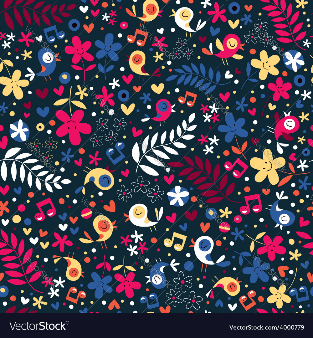 Cute birds and flowers pattern vector | Price: 1 Credit (USD $1)