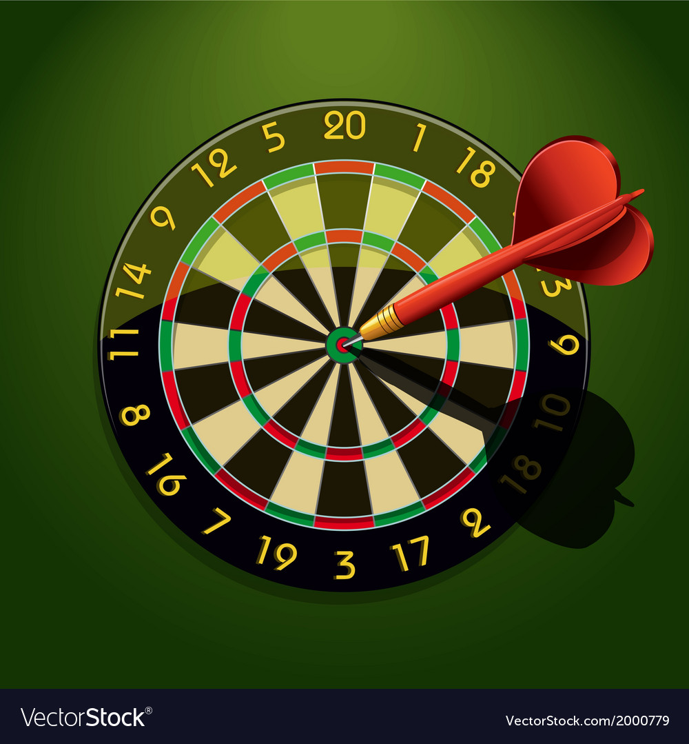 Dartboard with dart in the center vector | Price: 1 Credit (USD $1)
