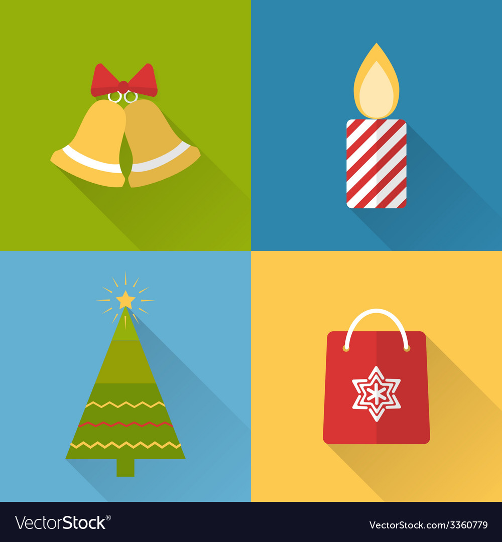 Flat christmas icons set vector   Price: 1 Credit (USD $1)