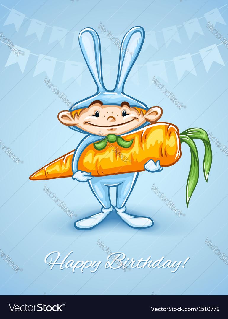 Happy little boy in rabbits vector | Price: 3 Credit (USD $3)