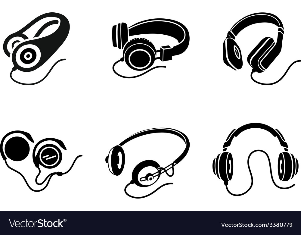 Headphones icon set in black on white background vector | Price: 1 Credit (USD $1)