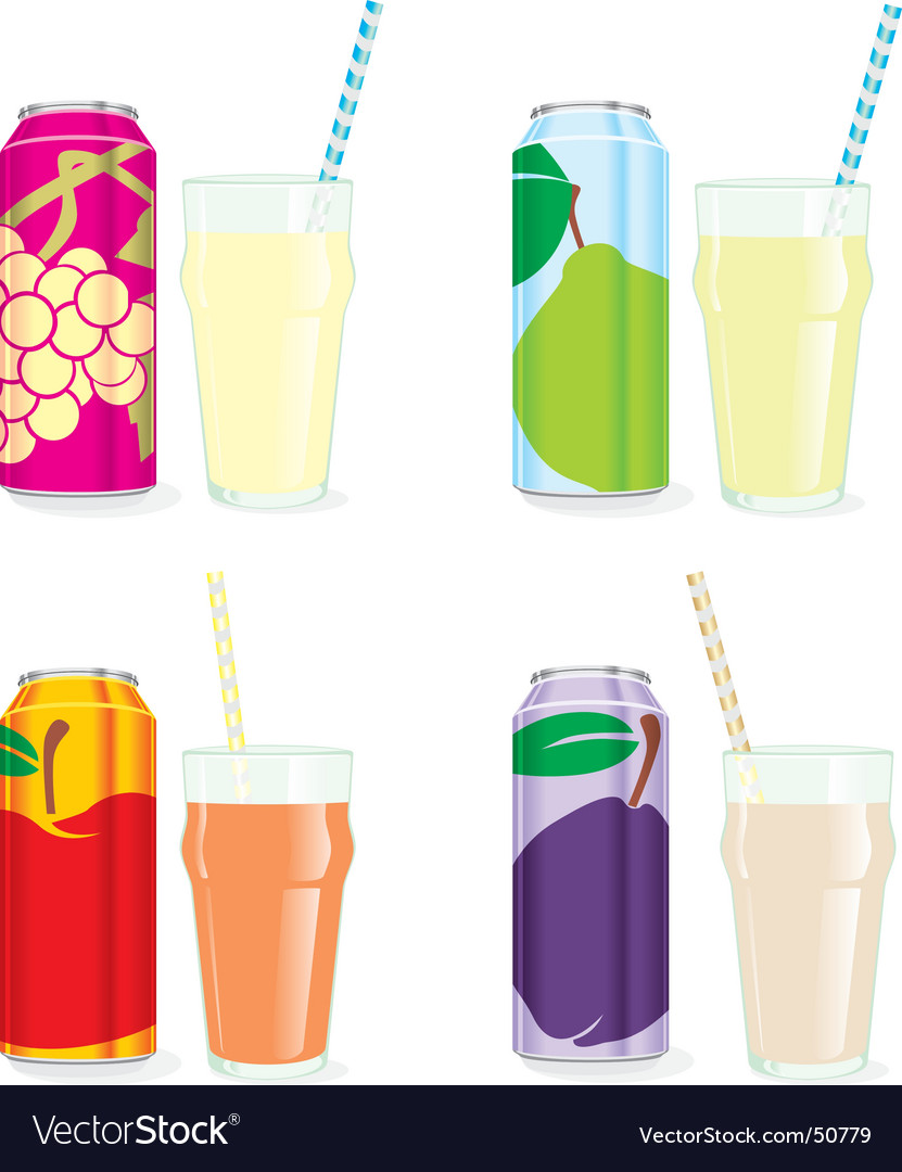 Isolated juice cans and glasses vector | Price: 3 Credit (USD $3)