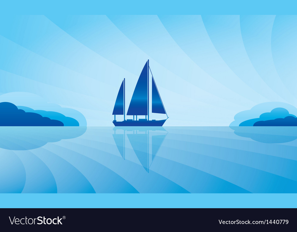 Sailing ship on skyline vector | Price: 1 Credit (USD $1)