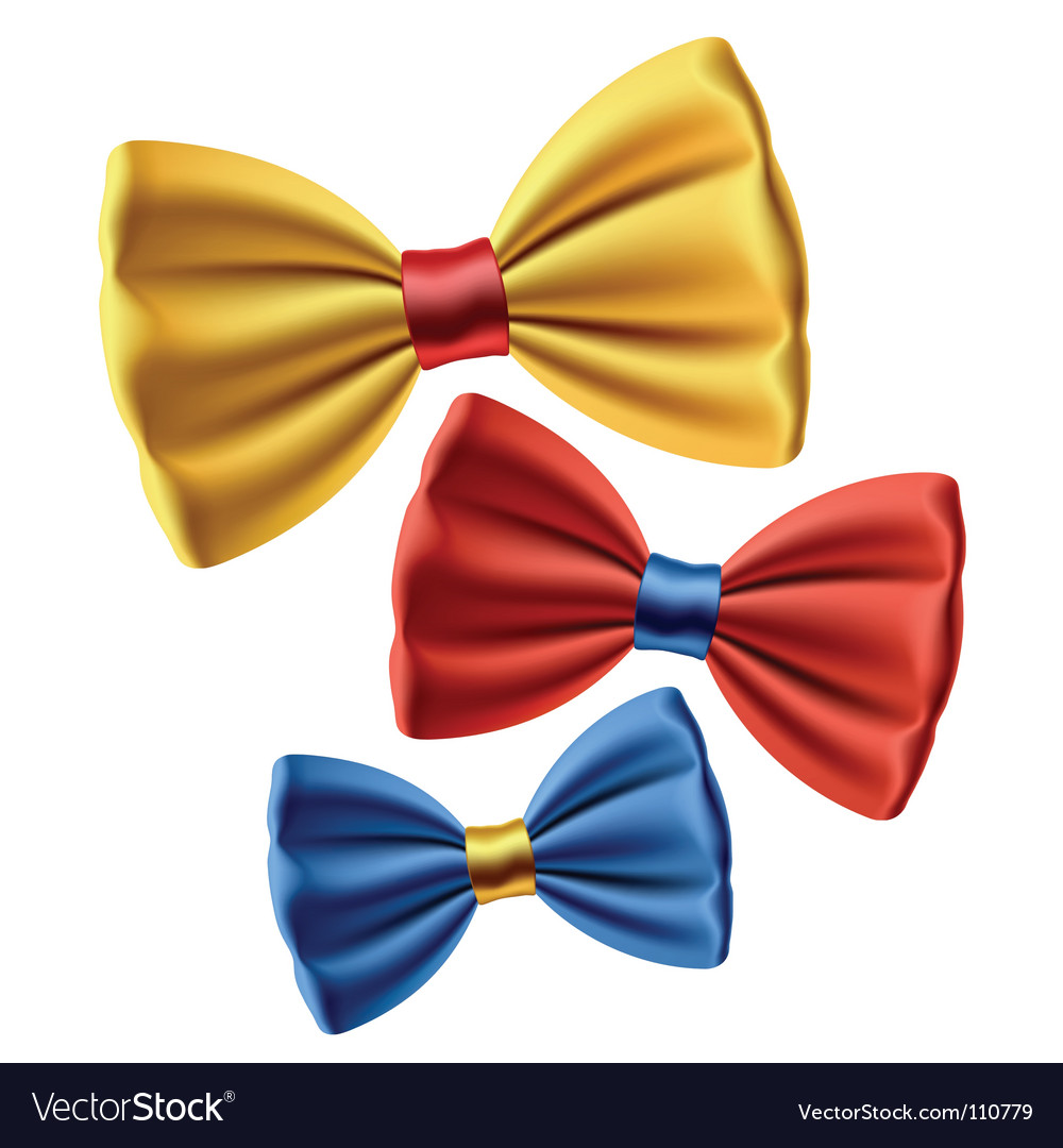 Set of colored bow ties vector | Price: 1 Credit (USD $1)