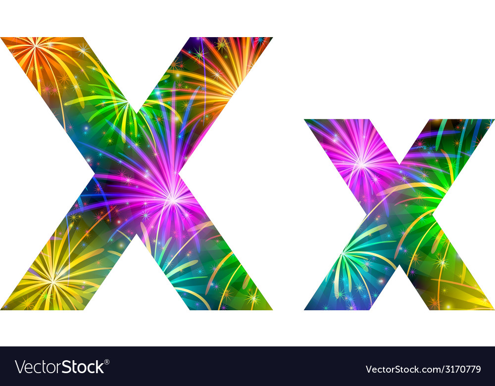Set of letters firework x vector | Price: 1 Credit (USD $1)