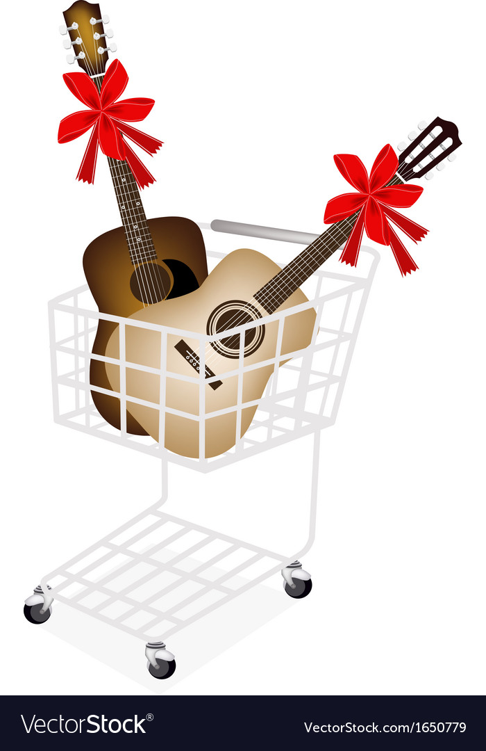 Two guitar with red ribbon in shopping cart vector | Price: 1 Credit (USD $1)