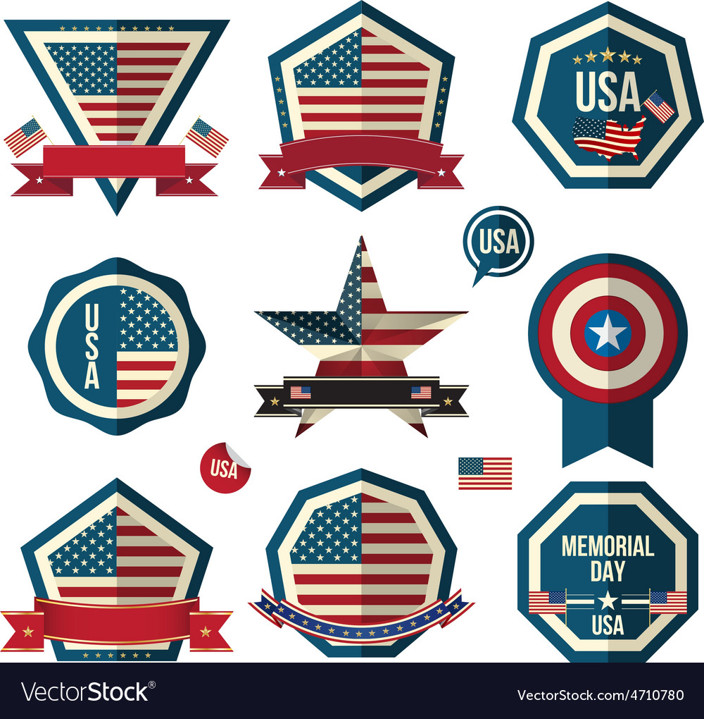 Badges set can use for greeting card memorial day vector | Price: 1 Credit (USD $1)